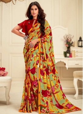 Mint Green and Red Trendy Classic Saree