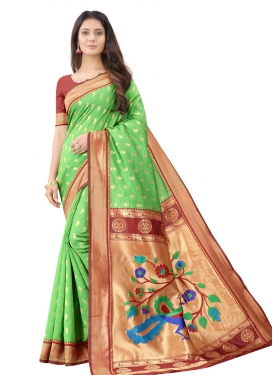 Mint Green and Red Woven Work Designer Traditional Saree
