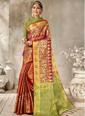 Mint Green and Red Woven Work Trendy Classic Saree