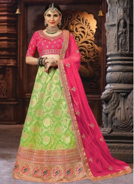 Mint Green and Rose Pink A Line Lehenga Choli For Bridal