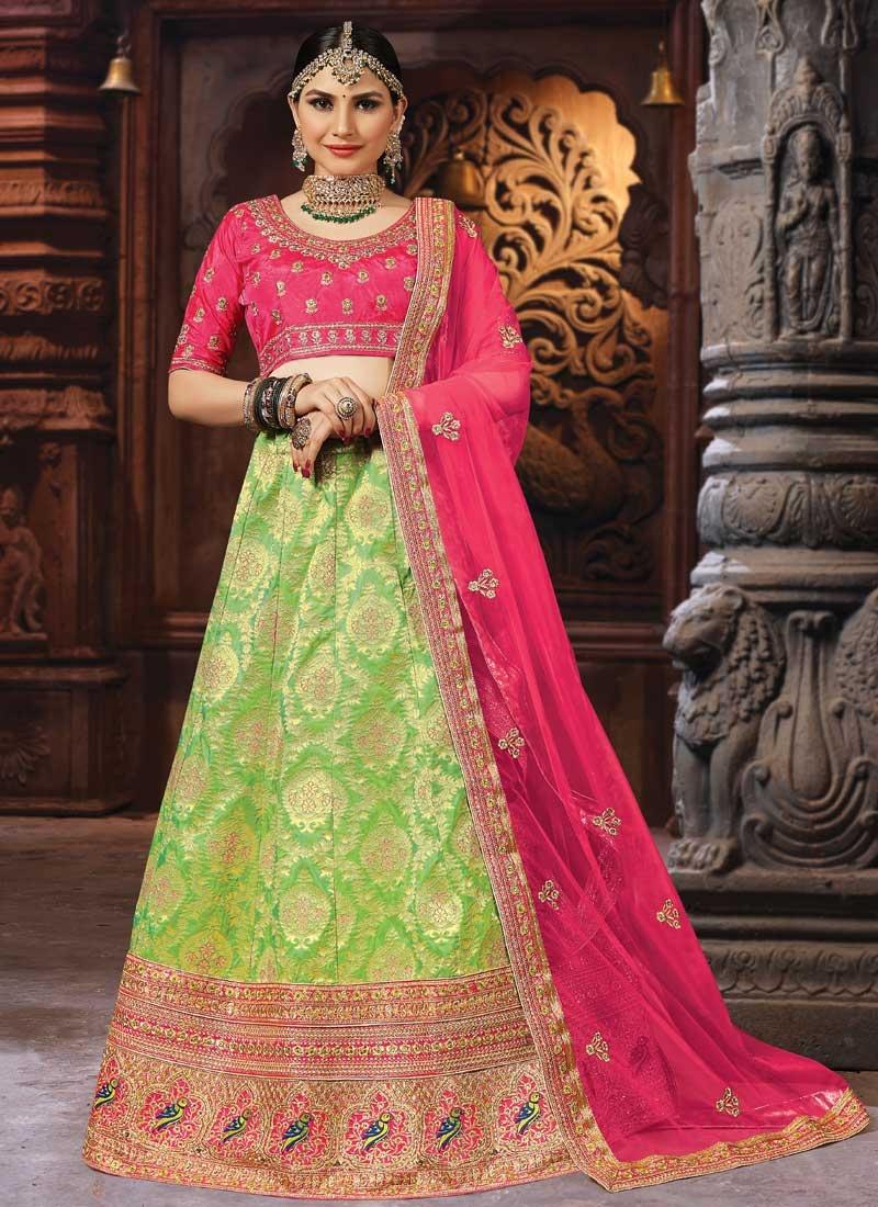 Mint Green and Rose Pink A Line Lehenga Choli For Bridal