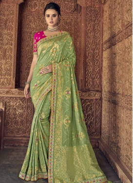 Mint Green and Rose Pink Beads Work Banarasi Silk Designer Traditional Saree