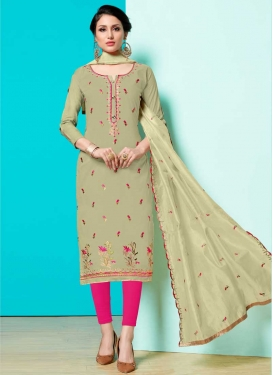 Mint Green and Rose Pink Cotton Churidar Salwar Suit