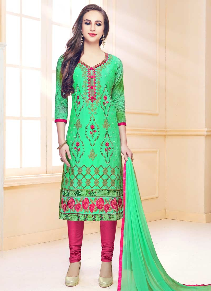 Mint Green and Rose Pink Cotton Satin Churidar Salwar Suit For Festival