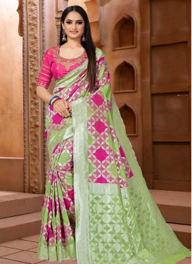 Mint Green and Rose Pink Designer Contemporary Style Saree