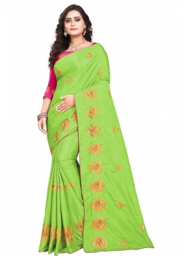 Mint Green and Rose Pink Embroidered Work Contemporary Style Saree