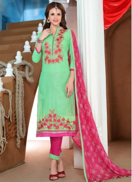 Mint Green and Rose Pink Pant Style Straight Salwar Suit