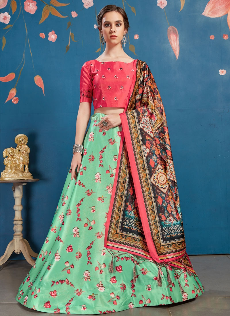 Mint Green and Rose Pink Satin Silk A - Line Lehenga