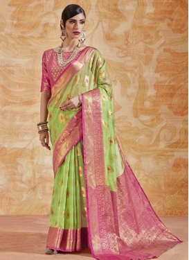 Mint Green and Rose Pink Thread Work Contemporary Style Saree