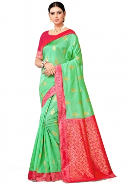 Mint Green and Rose Pink Traditional Saree