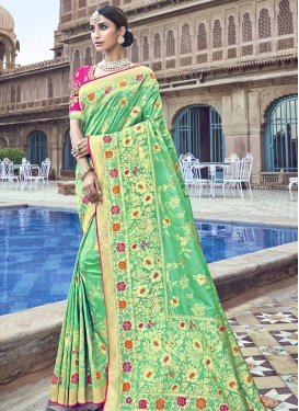Mint Green and Rose Pink Trendy Classic Saree For Festival