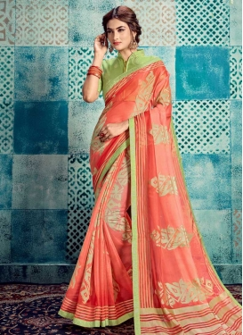Mint Green and Salmon Contemporary Style Saree For Ceremonial