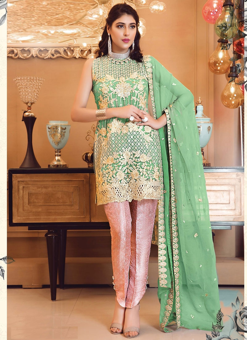 Mint Green and Salmon Faux Georgette Pant Style Designer Salwar Suit