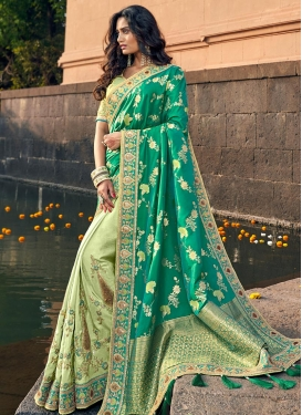 Mint Green and Sea Green Embroidered Work Designer Half N Half Saree