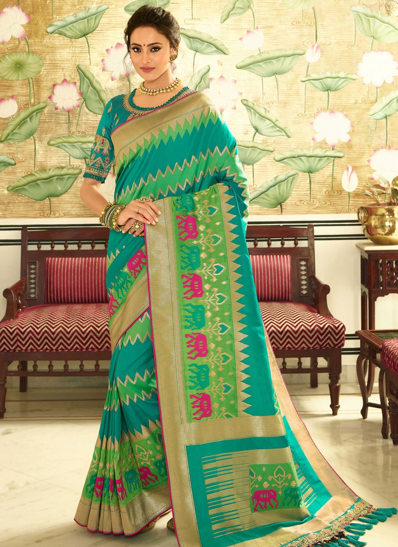 Mint Green and Sea Green Traditional Designer Saree For Festival