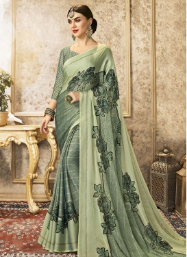 Mint Green and Sea Green Trendy Classic Saree