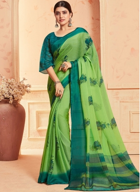 Mint Green and Teal Abstract Print Work Faux Georgette Printed Saree