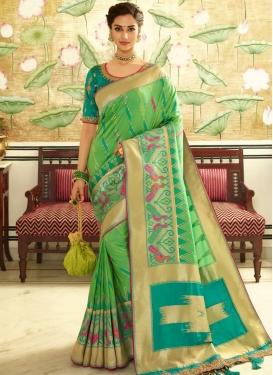 Mint Green and Teal Banarasi Silk Trendy Classic Saree For Bridal