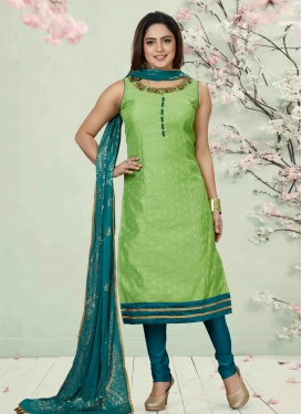 Mint Green and Teal Cutdana Work Readymade Churidar Salwar Kameez