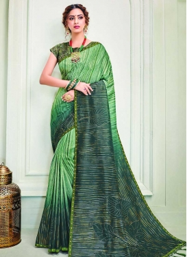Mint Green and Teal Lace Work Art Silk Designer Traditional Saree