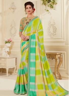 Mint Green and Turquoise Embroidered Work Designer Contemporary Style Saree