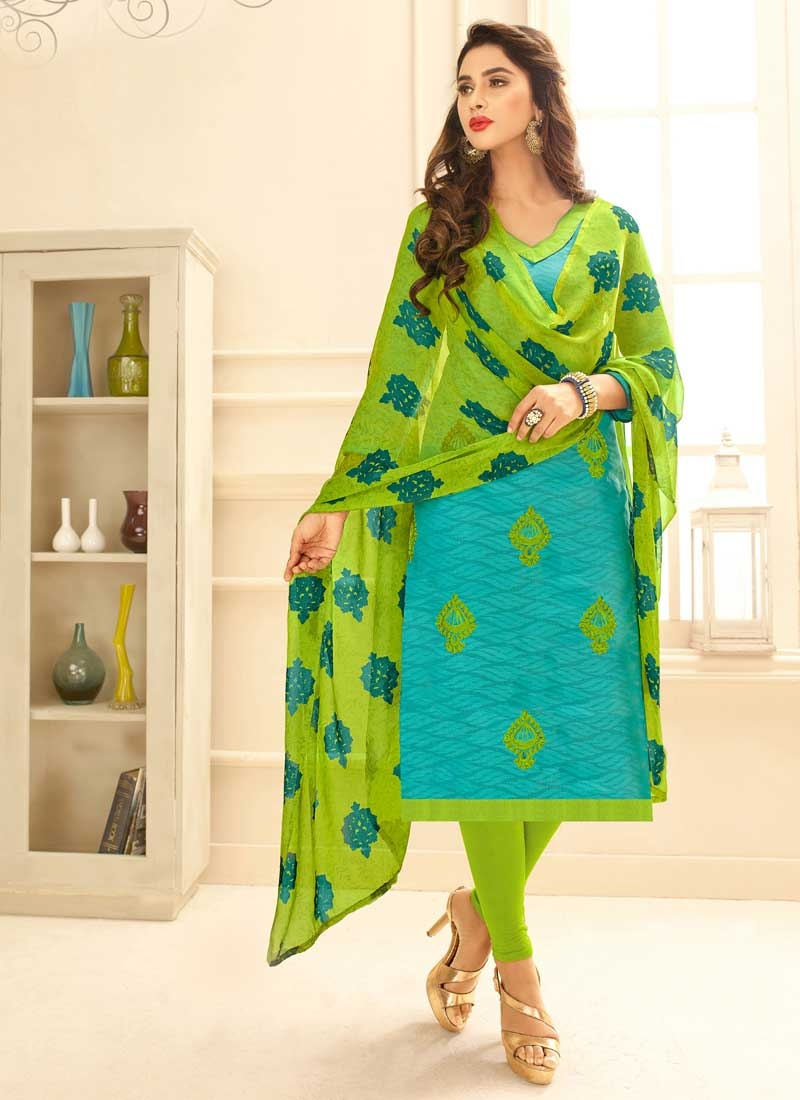 Mint Green and Turquoise Trendy Straight Salwar Suit