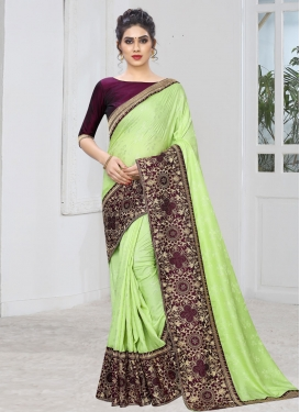 Mint Green and Wine Trendy Classic Saree For Ceremonial