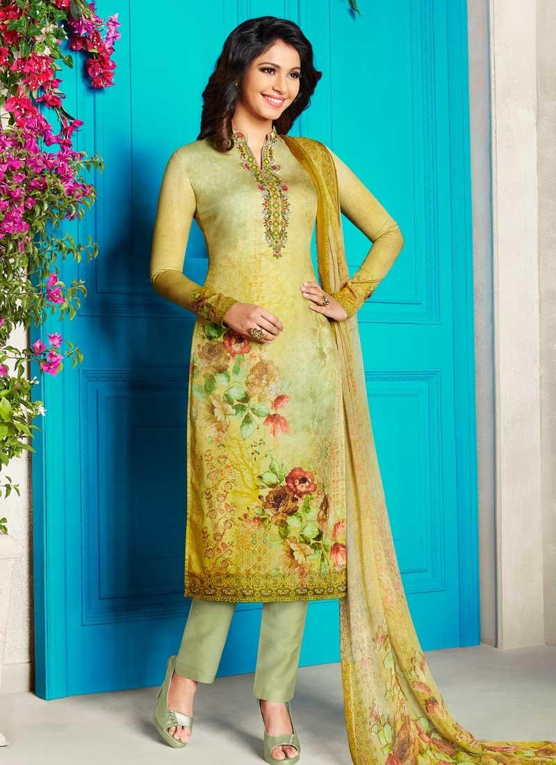 Mint Green and Yellow Digital Print Work Pant Style Straight Salwar Kameez
