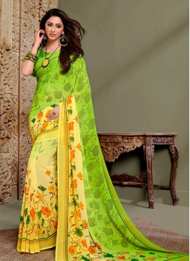 Mint Green and Yellow Faux Georgette Designer Contemporary Style Saree