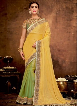 Mint Green and Yellow Half N Half Trendy Saree For Party