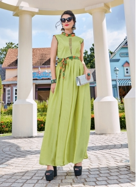 Mint Green Crepe Silk Festival Readymade Gown