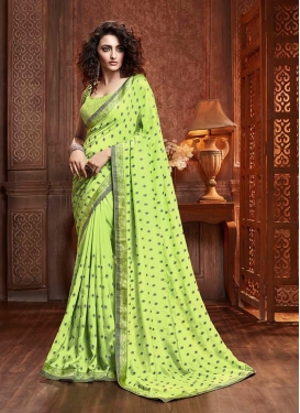 Mint Green Embroidered Casual Traditional Saree