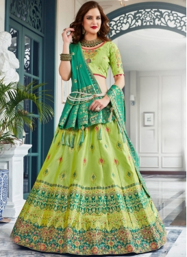 Mint Green Embroidered Lehenga Choli