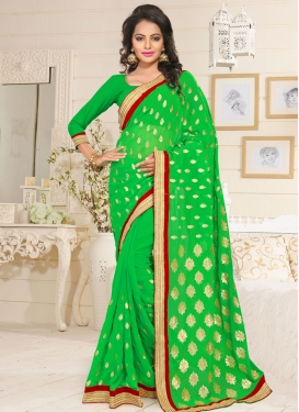 Mint Green Embroidered Work Trendy Classic Saree