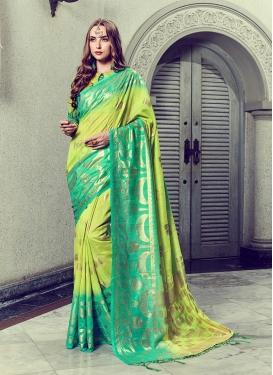 Mint Green Foil print Art Silk Trendy Saree