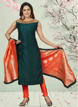Mirror Work Chanderi Silk Bottle Green and Orange Readymade Churidar Salwar Suit