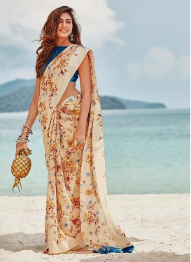 Mod Cream Abstract Print Printed Saree