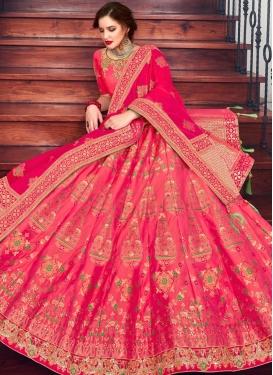Mod Jacquard Silk Embroidered Hot Pink Lehenga Choli