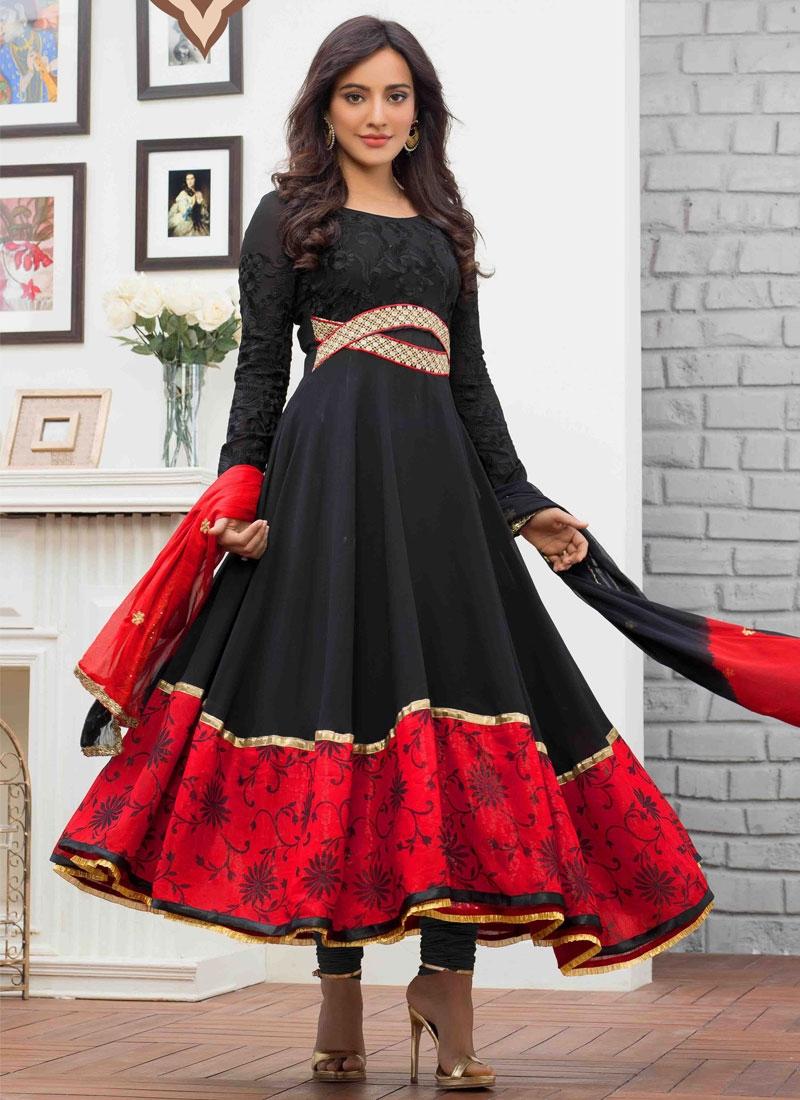 Modernistic Red And Black Color Neha Sharma Anarkali Salwar Kameez
