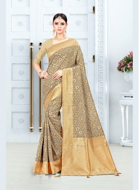 Modest Art Silk Beige Weaving Traditional Saree