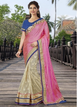 Modest Cream and Hot Pink Half N Half Trendy Saree For Festival