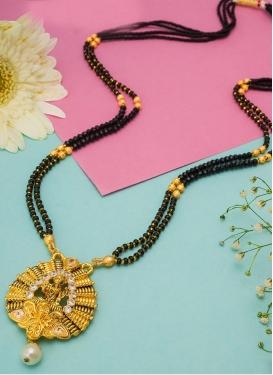 Modest Gold Rodium Polish Beads Work Alloy Mangalsutra