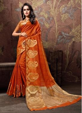 Modest Orange Woven Traditional Saree