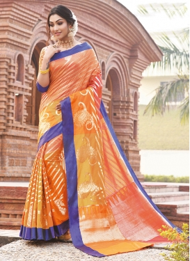 Modish Art Silk Orange Traditional Saree