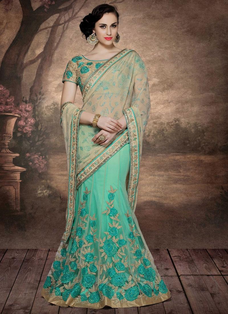 Modish Floral Work Designer Lehenga Saree