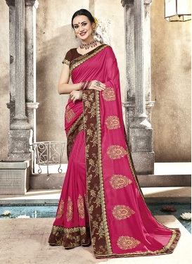 Monumental Silk Rose Pink Embroidered Classic Saree