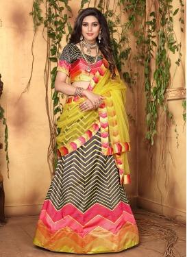 Multi Colour Digital Print Satin Designer Lehenga Choli