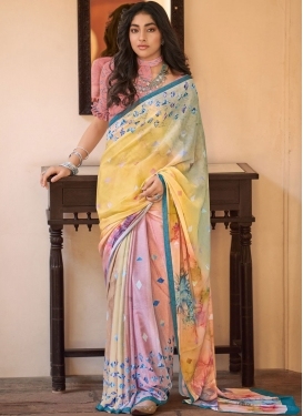 Multi Colour Faux Crepe Printed Saree