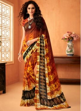 Multi Colour Faux Georgette Printed Saree