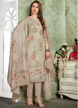 Muslin Embroidered Pant Style Suit in Beige